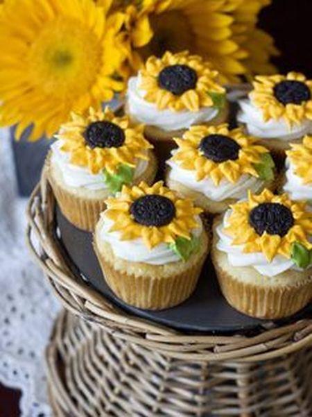 Sunflower 80th Birthday Cupcakes