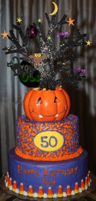 Autumn Themed 50th Birthday Cake