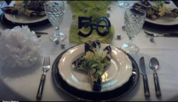 50th Birthday Favor Tablescape