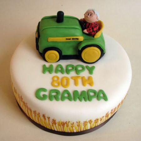 Tractor 80th Birthday Cake Idea