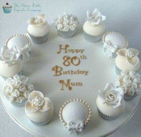 Formal 80th Birthday Cupcakes