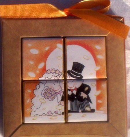 Confetti Couple Chocolate Puzzle Wedding Favor