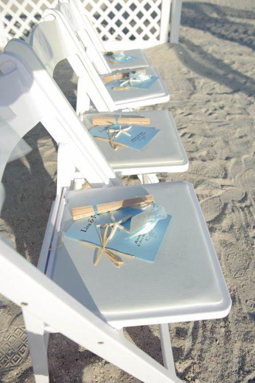 Beach Wedding Favor Fans Display
