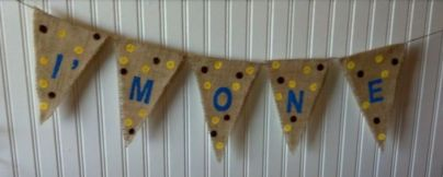 First Boy Birthday Burlap Banner