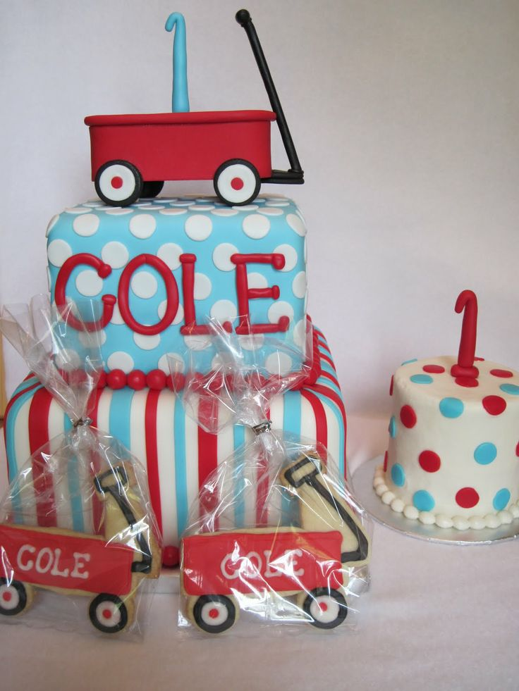 First Boy Birthday Wagon Cake