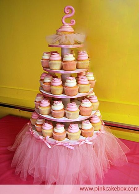 First Girl Birthday Cupcake Tower