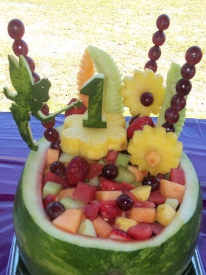 First Girl Birthday Fruit Display