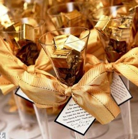 Glasses Filled With Gourmet Chocolate Wedding Favors