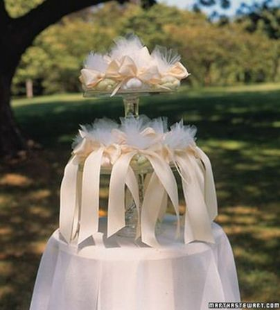 Dramatic Jordan Almond Wedding Favor Display