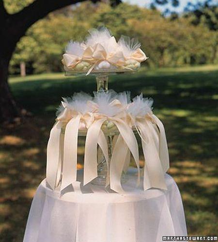 Dramatic Jordan Almond Wedding Favor Display