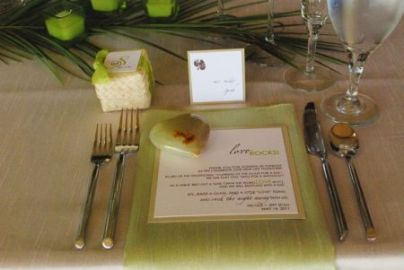 Green Jordan Almond Wedding Favor Presentation