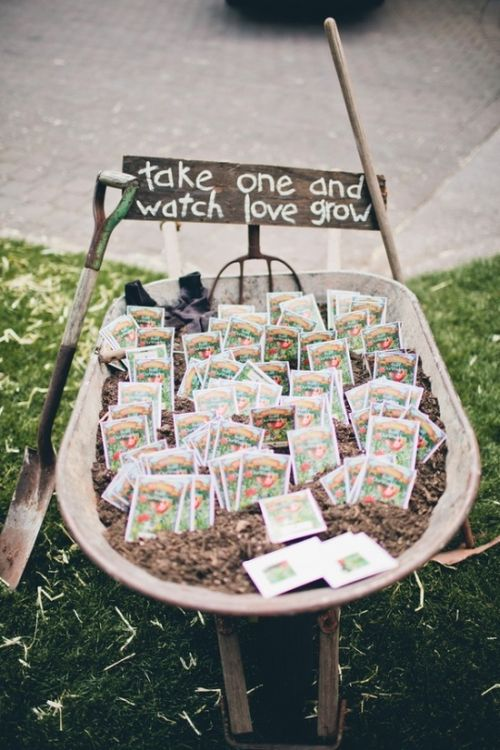 Wheelbarrow Seed Packet Wedding Favor Idea