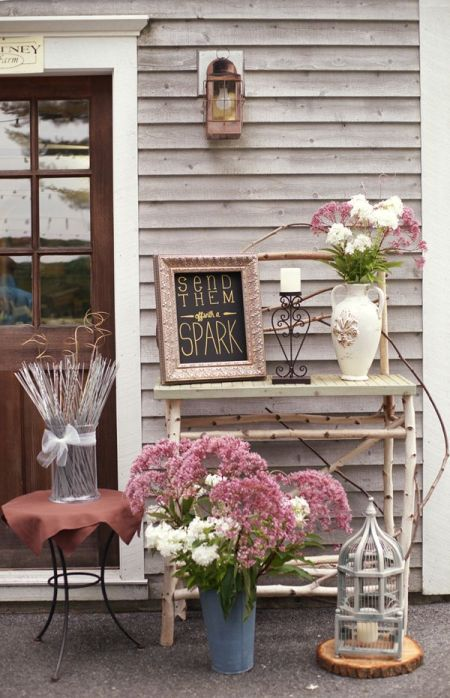 Rustic Sparklers For Weddings Display Idea