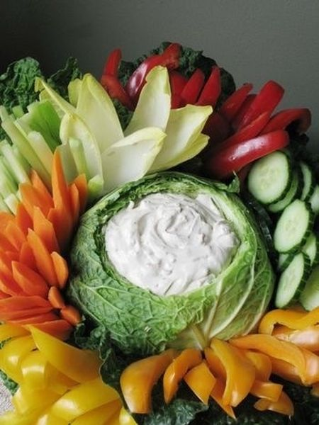 Vegetable Appetizer Dip in Cabbage