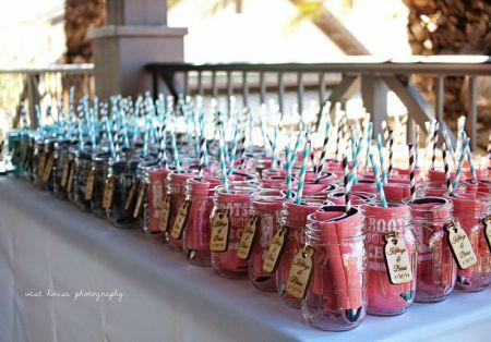 Wedding Favor Koozie Display Idea