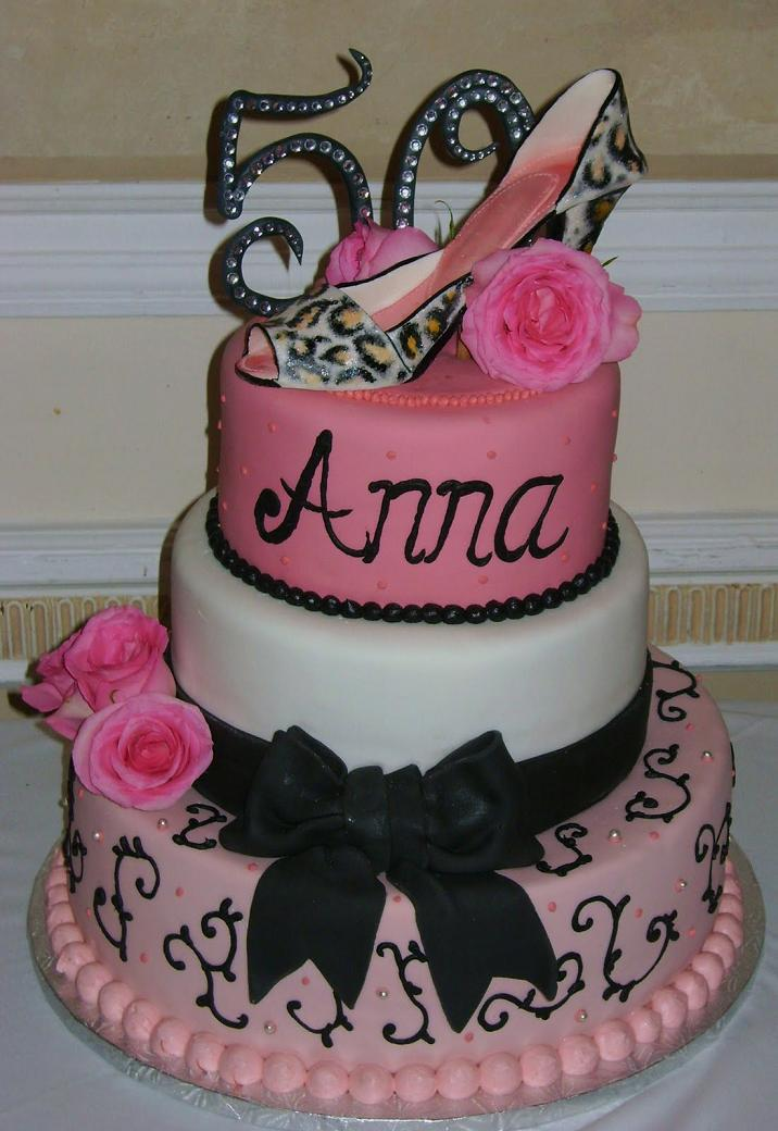 Chic 50th Birthday Cake Idea