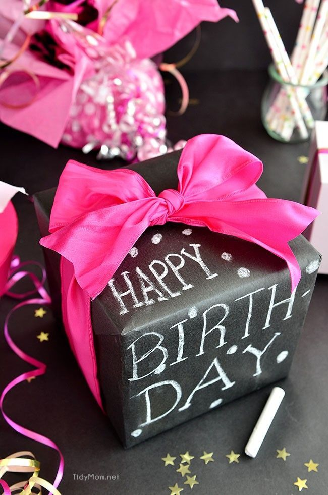 Chalkboard Gift Wrap For 50th Birthday