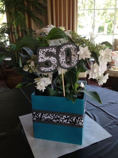 To Make Your Centerpiece A 50 Birthday Party Decoration Try This Idea Live Plant Tucked Into Decorative Box Is Simple Enough Adding