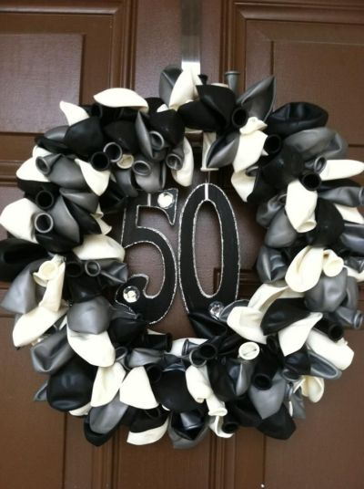 Black And Gold Balloon Centerpieces For A 50th Birthday Or T