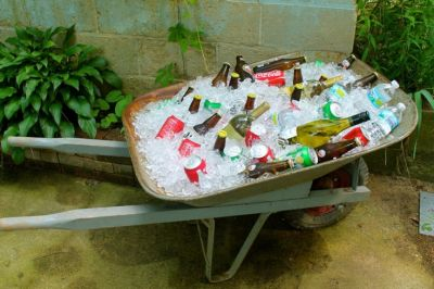 Beverage Wheelbarrow 50th Birthday Idea