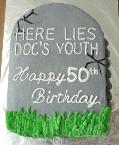 50th Birthday Party Themed Birthday Cake