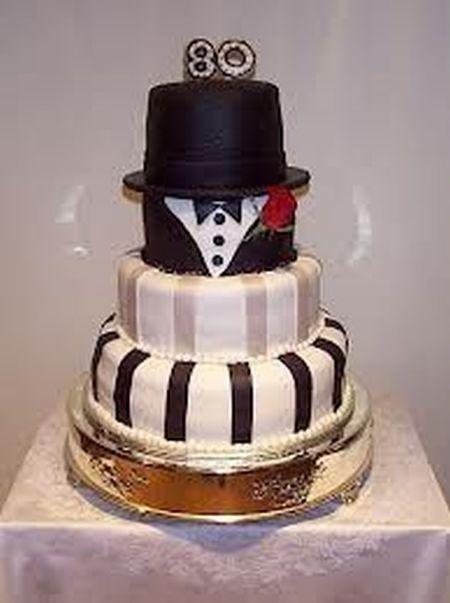 Tuxedo 80th Birthday Cake