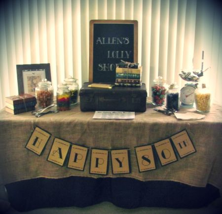 80th Birthday Decorations Table Burlap