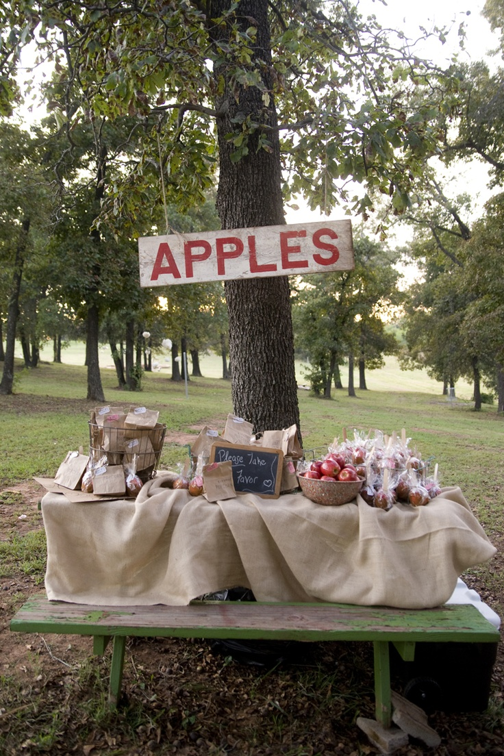 Outdoor Candy Apple Wedding Favors