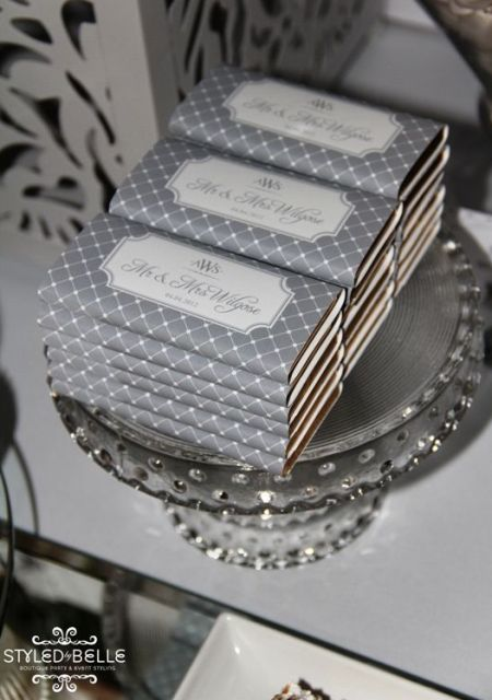 Silver Chocolate Bar Wedding Favors
