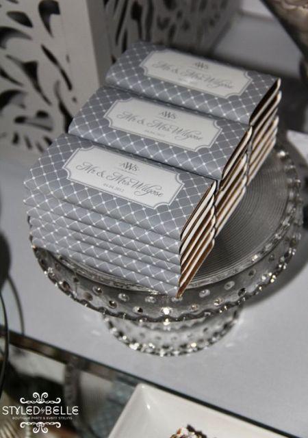 Silver Chocolate Bar Wedding Favors