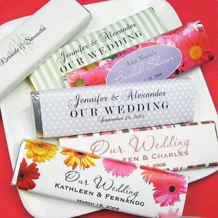 Colorful Chocolate Bar Wedding Favors