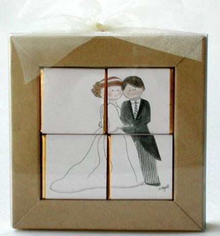 Happy Couple Chocolate Puzzle Wedding Favor