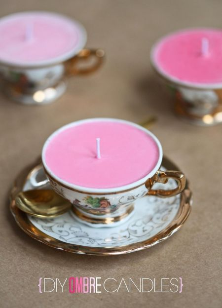DIY Candle Wedding Favor Teacups