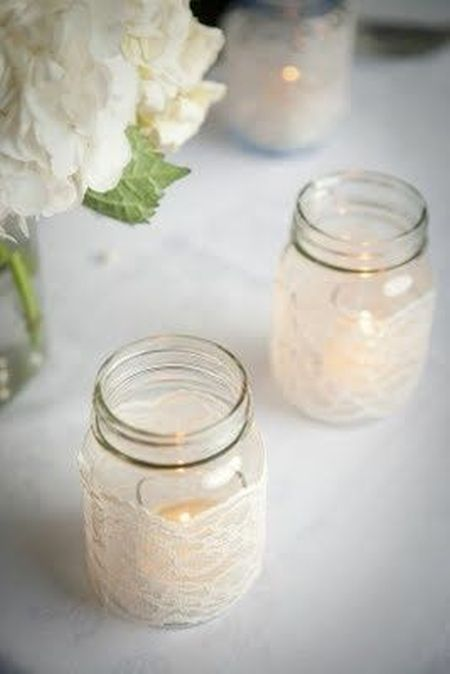 DIY Candle Wedding Favor Lace