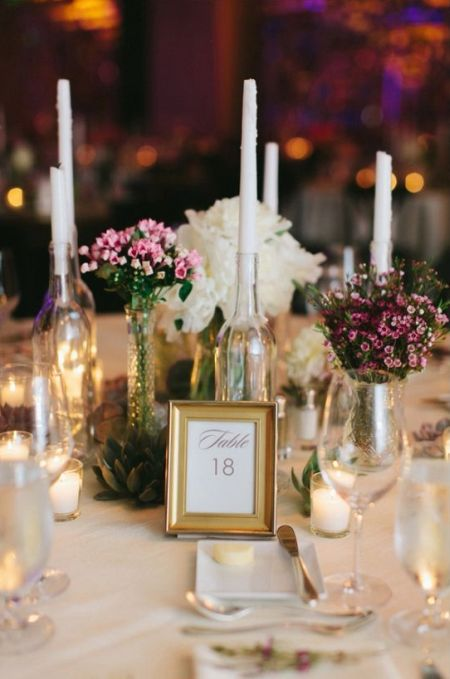 Diy candle wedding favor for Wedding table decorations with wine bottles