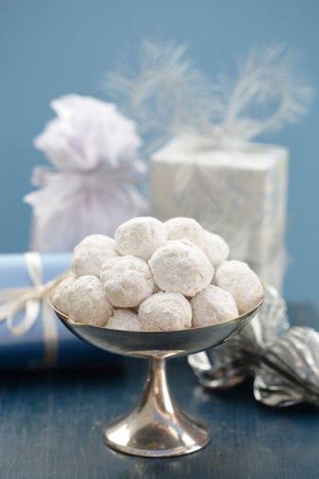 Danish Wedding Cookies In Footed Dish