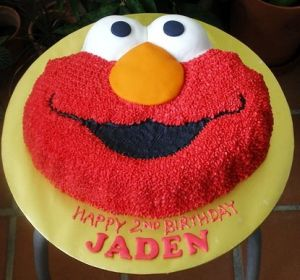 Elmo Shaped Birthday Cake