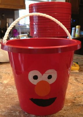 Elmo Birthday Party Favor Buckets