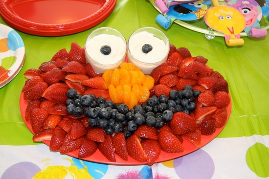 Elmo Birthday Party Ideas Fruit Display