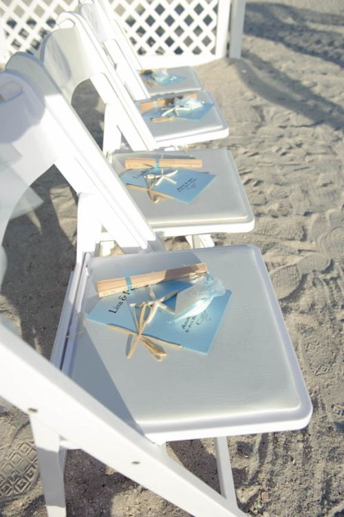 Beach Wedding Favor Fans Display