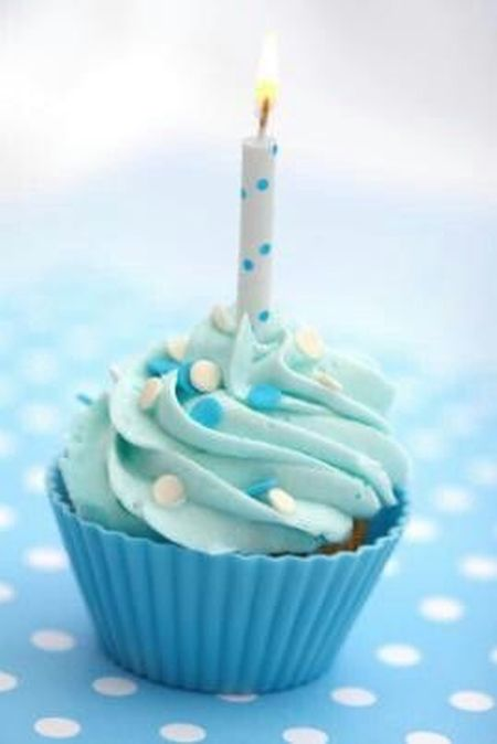 Baby Blue First Boy Birthday Cupcake