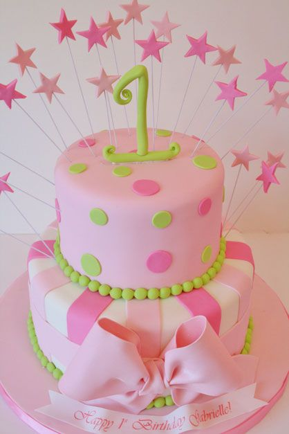 Cake Decorations For Baby S First Birthday : First Girl Birthday