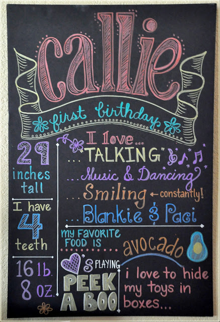 First Girl Birthday Chalkboard