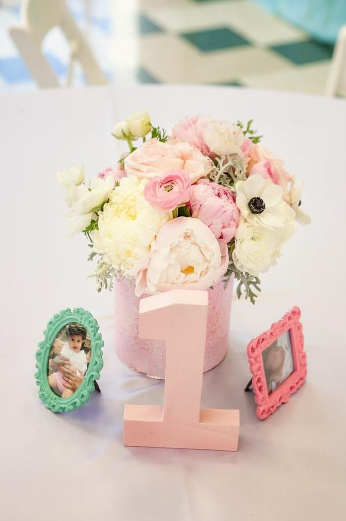 First Girl Birthday Centerpiece Idea