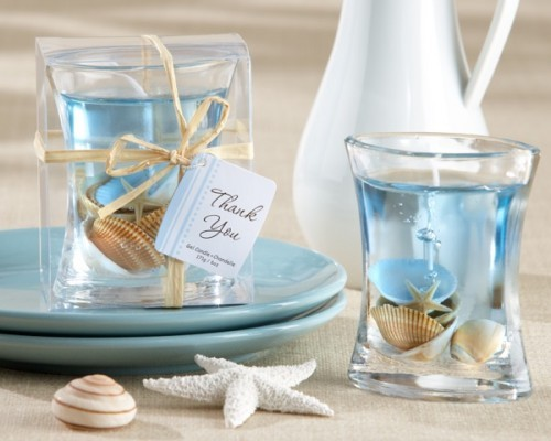 Gel Candle Wedding Favor Beach Themed