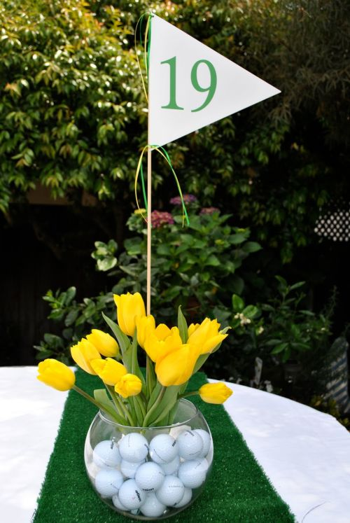 Golf Themed Wedding Favor Centerpiece