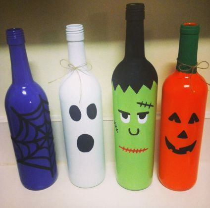 wine bottle halloween decorations