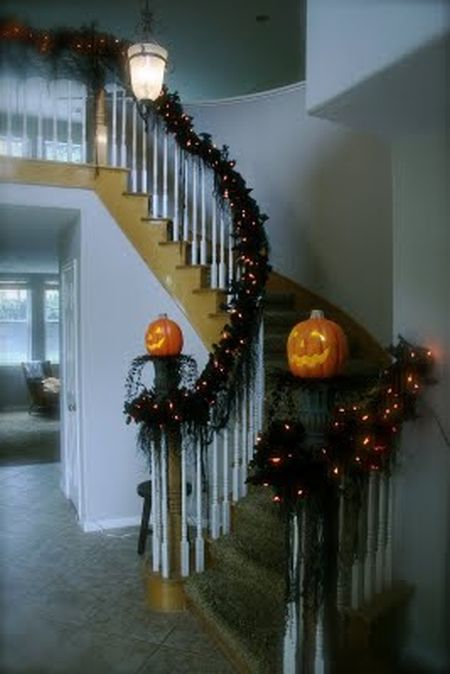 Lighted Stairway Halloween Decorating Idea