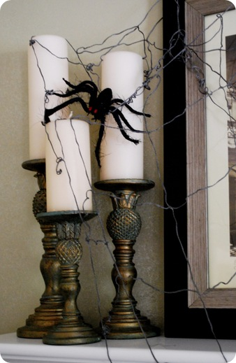 Spiderweb Candle Decorating Idea