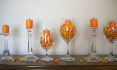 Candy Corn Candle Decorating Idea